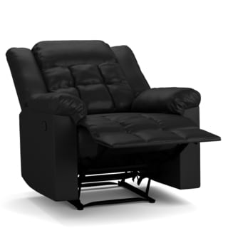 ProLounger Black Renu Leather Flat Wing Wall Hugger Recliner