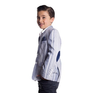 Elie Balleh Boy's Milano Italy 2016 Style Slim Fit Jacket/Blazer in Grey with Pinstripes