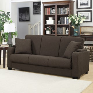 Handy Living Storage Arm Convert-a-Couch Brown Linen Futon Sleeper Sofa
