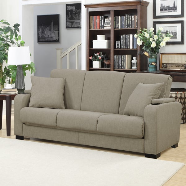 Lovely Handy Living Storage Arm Convert A Couch Barley Oat Linen Futon Sleeper Sofa