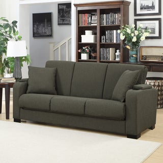 Handy Living Storage Arm Convert-a-Couch Basil Green Linen Futon Sleeper Sofa