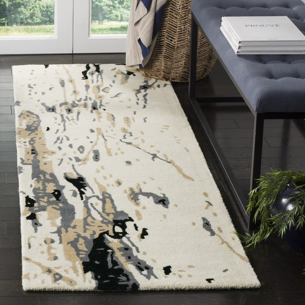 Safavieh Handmade Bella Modern Abstract Ivory/ Grey Wool Runner Rug - 2'3 x 9'