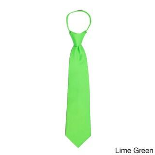 Jacob Alexander Toddlers' Solid-Color Microfiber 11-inch Pretied Zipper Tie