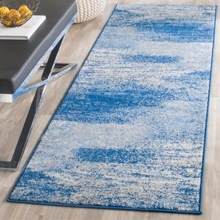 Safavieh Adirondack Modern Abstract Silver/ Blue Rug (2' 6 x 20')