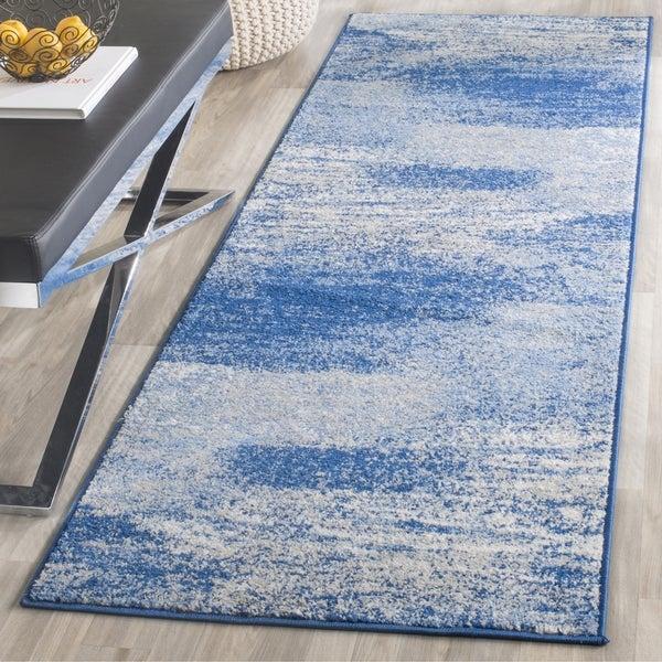 Safavieh Adirondack Modern Abstract Silver/ Blue Runner Rug (2'6 x 20') - 2'6 x 20'