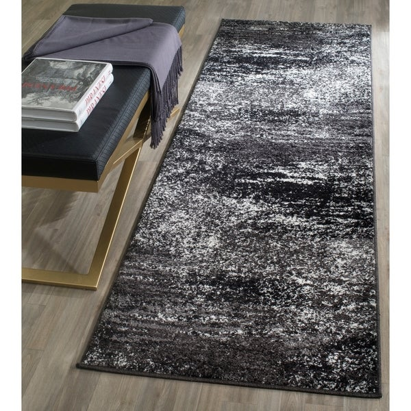 "Shop Safavieh Adirondack Brynn Modern Abstract Silver/ Black Rug - 2'6"" x 12' Runner - On Sale - Free Shipping Today - Overstock - 11736646"