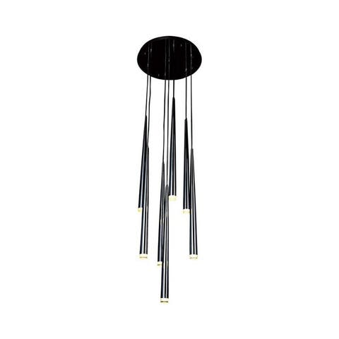 Avenue Lighting HF2107BLK Seven Light Pendant Highland Ave. Black - One Size