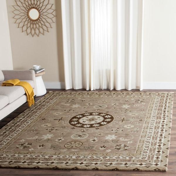 Safavieh Handmade Bella Taupe/ Light Grey Wool Rug - 8' x 10'