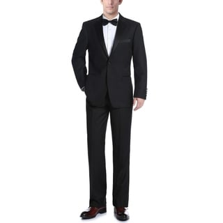 Verno Men's Classic Fit Black Two-piece Ribbon Finish Tuxedo