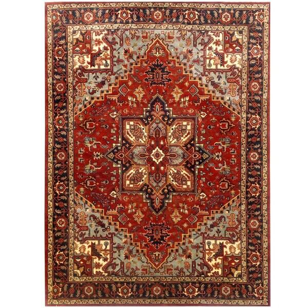 Handmade Herat Oriental Indo Serapi Wool Rug (India) - 8'10 x 12'
