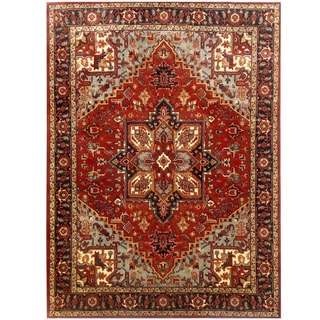 Herat Oriental Indo Hand-knotted Serapi Red/ Black Wool Rug (8'10 x 12')