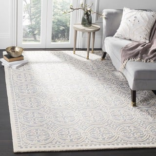 Safavieh Handmade Cambridge Silver/ Ivory Wool Rug (9' Square)