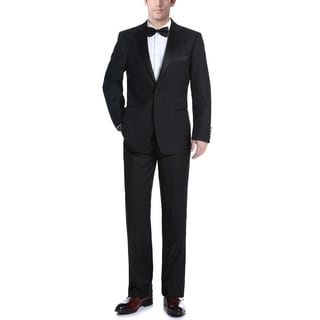Verno Men's Black Notch Collar Slim Fit 2-Piece Tuxedo With Ribbon Finish