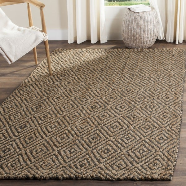 safavieh casual natural fiber hand woven natural grey jute rug 9 39 x 12 39 free shipping. Black Bedroom Furniture Sets. Home Design Ideas