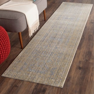 Safavieh Valencia Grey/ Gold Distressed Silky Polyester Rug (2' 3 x 6')