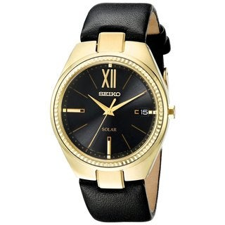 Seiko Ladies SNE876 Stainless Steel Recraft Solar Gold Tone Leather Strap Watch with a Date Window