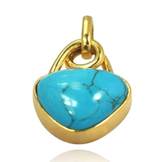 De Buman 14k Yellow Gold Plated Create Turquoise Pendant