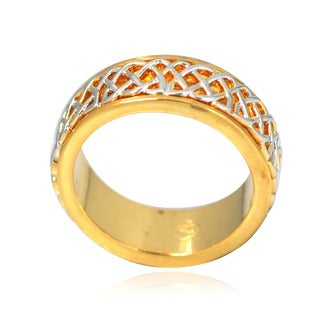 De Buman 14k Gold Overlay Men's Celtic Band Ring