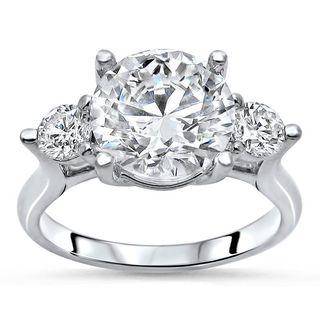 Noori 14k White Gold 1/2ct TDW Diamond and Moissanite 3-stone Engagement Ring (G-H, SI1-SI2)