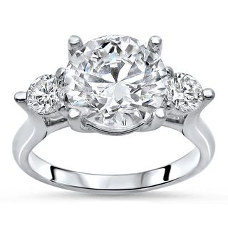 Noori 14k White Gold 1/2ct TDW Diamond and Moissanite 3-stone Engagement Ring (G-H, SI1-SI2)