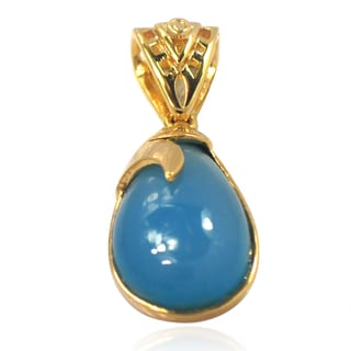 De Buman 14k Yellow Gold Plated Blue Agate or Create Lapis Pendant