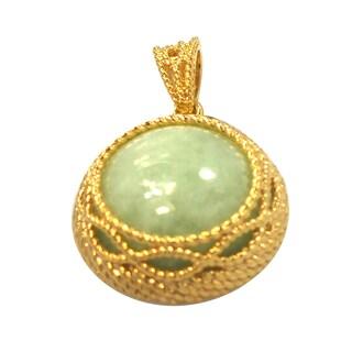 De Buman 14k Yellow Gold Plated Jade Pendant