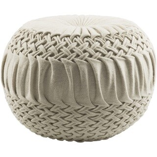 Solid Color Amy Round Wool/Nylon Pouf (18 x 18 x 14)
