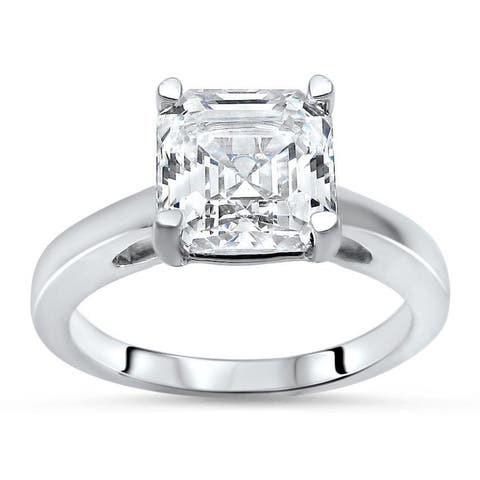 14k White Gold 1 5/8ct TGW Asscher-cut Moissanite Solitaire Engagement Ring