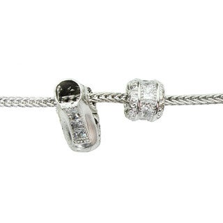 Michael Valitutti Cubic Zirconia Channel and Ice Skate Charm Bracelet