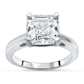 Noori 14k White Gold 2 2/5ct TGW Asscher-cut Moissanite Solitaire Engagement Ring