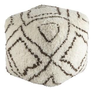 Geometric Amble Square Wool Pouf (20 x 20 x 20)