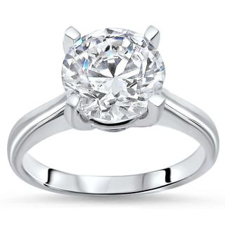 Noori 14k White Gold 2 7/8ct TGW Round Moissanite Solitaire Engagement Ring