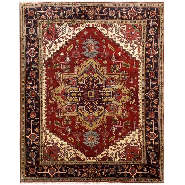 Herat Oriental Indo Hand-knotted Serapi Wool Rug (8'1 x 10'5) - 8'1 x 10'5