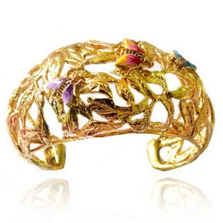 De Buman 14k Yellow Gold Plated Multi-color Enamel Cuff Bracelet