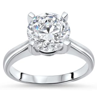 Noori 14k White Gold 2 1/2ct TGW Round Moissanite Engagement Ring
