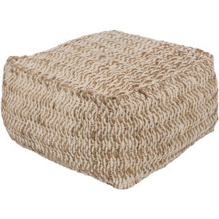 "Striped Ali Square Jute/Cotton Pouf (20"" x 20"" x 12"")"