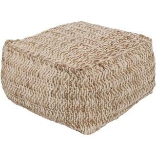 """Striped Ali Square Jute/Cotton Pouf (20"""" x 20"""" x 12"""")"""