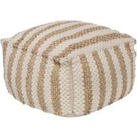 Striped Almeria Square Jute/Cotton Pouf (20 x 20 x 12)