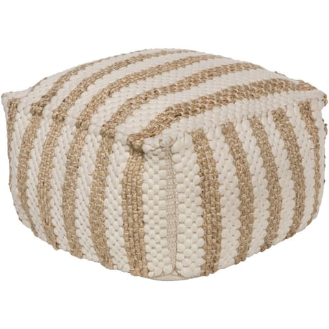Striped Almeria Square Jute/Cotton Pouf (20 x 20 x 12)