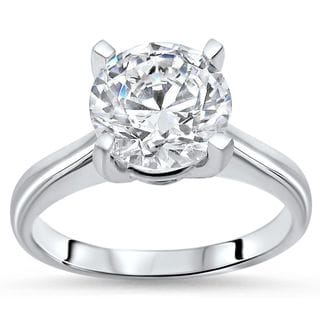Noori 1 3/5ct TGW Round Moissanite Engagement Ring 14k White Gold