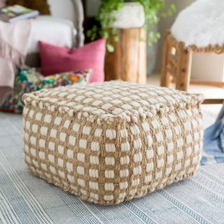 Striped Alta Square Jute/Cotton Pouf (20 x 20 x 12)