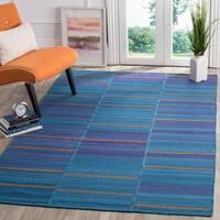Safavieh Hand-Woven Kilim Blue/ Multi Wool Rug - 5' x 8'