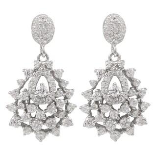 Luxiro Sterling Silver Cubic Zirconia Cluster Teardrop Earrings