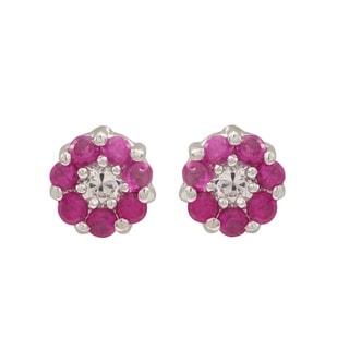 Luxiro Sterling Silver Cubic Zirconia Flower Childrens Stud Earrings