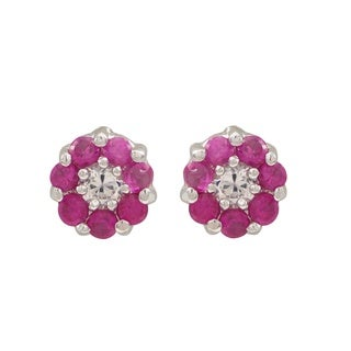 Luxiro Sterling Silver Cubic Zirconia Flower Childrens Stud Earrings