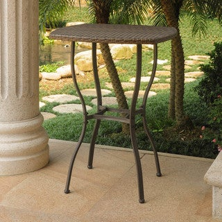 International Caravan Valencia Resin Wicker Bar Height Patio Bistro Table