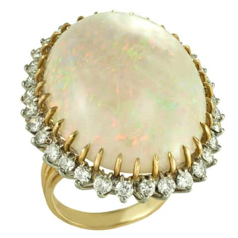 14k Yellow Gold 5/8ct TDW Diamond and Opal Ring - Yellow Gold
