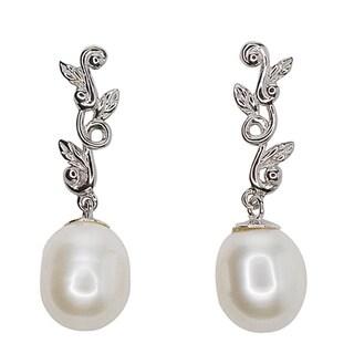 Kabella Sterling Silver Freshwater Pearl Leaf Dangling Earrings - 9mm