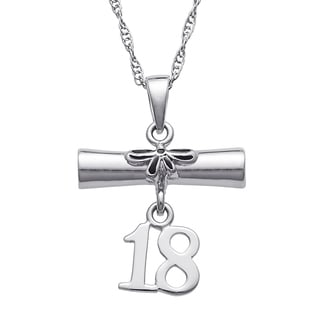 Sterling Silver Diploma and '18 Grad Pendant