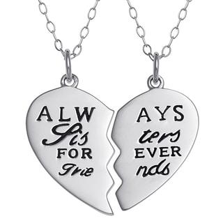 Sterling Silver Sisters Breakable Heart Pendant